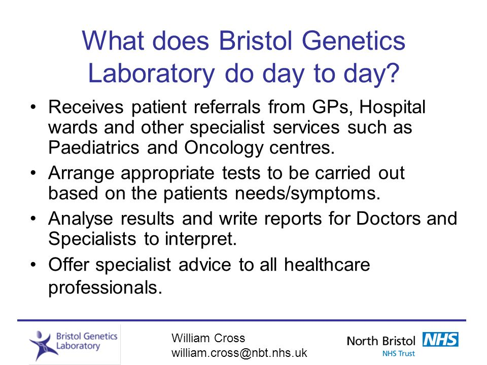What does Bristol Genetics Laboratory do day to day