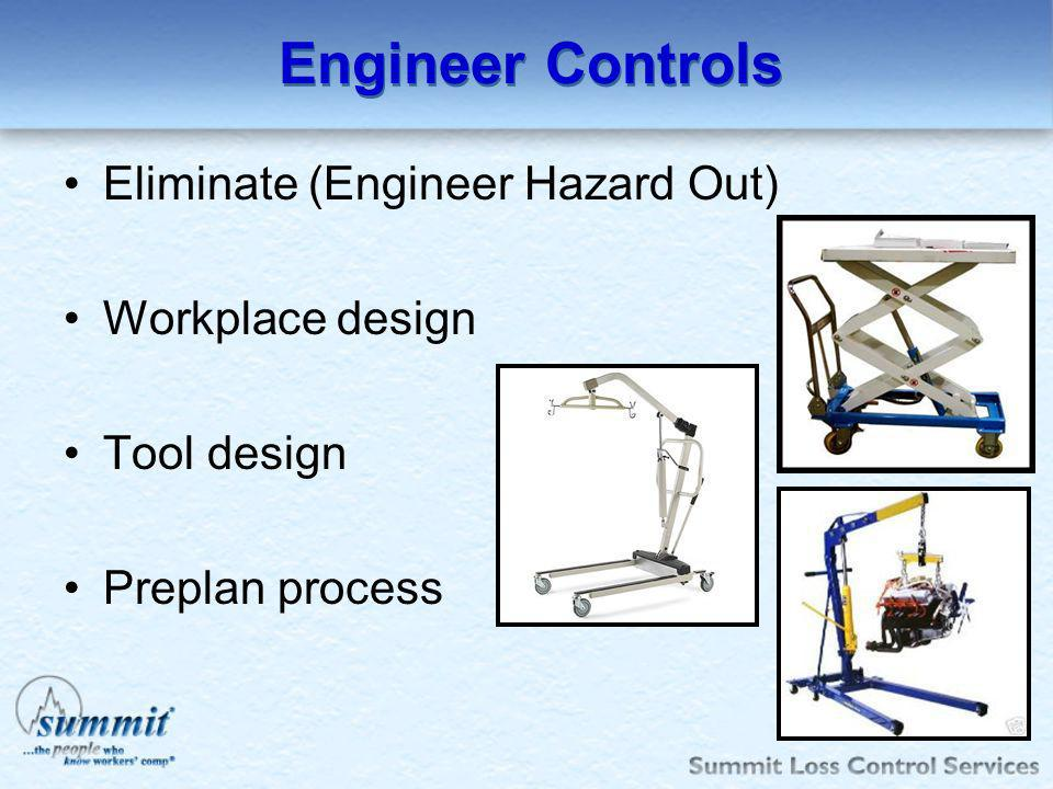Engineer Controls Eliminate (Engineer Hazard Out) Workplace design