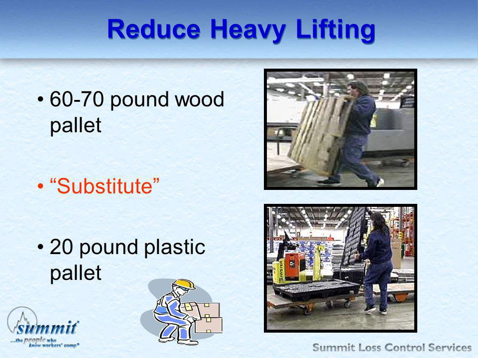 Reduce Heavy Lifting 60-70 pound wood pallet Substitute