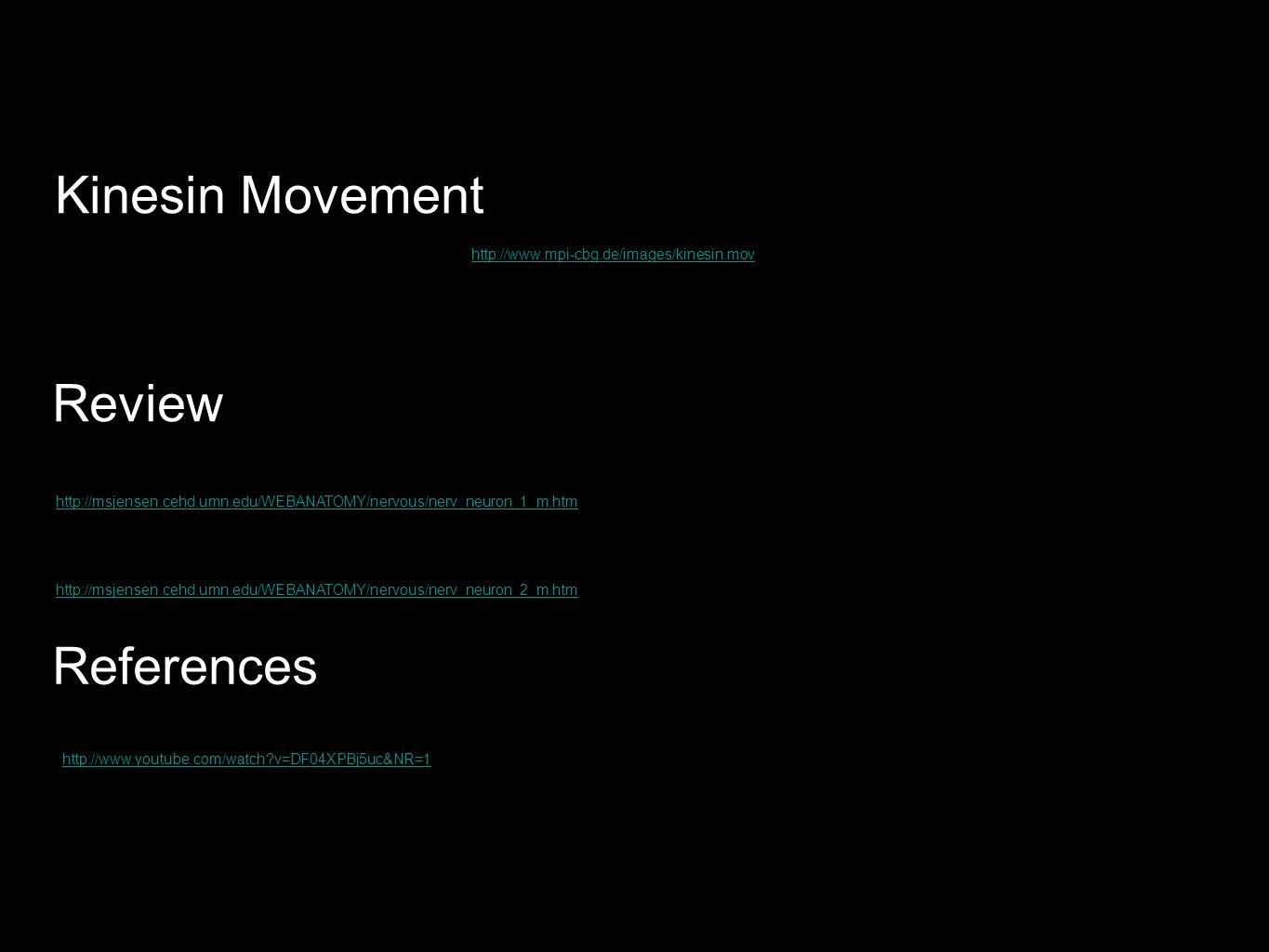 Kinesin Movement Review References
