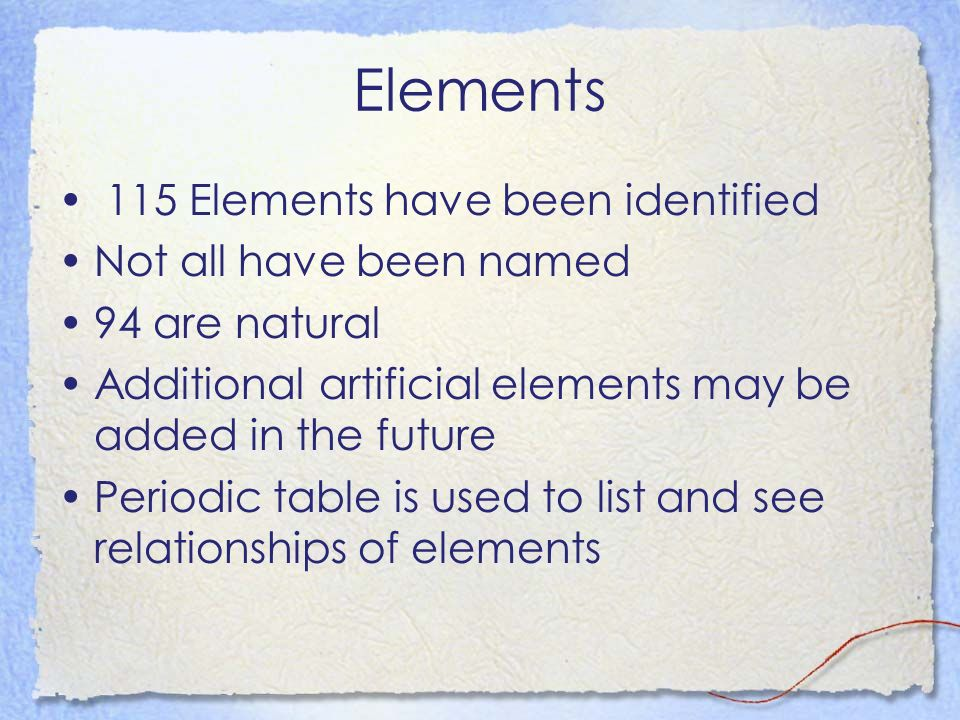 Elements 115 Elements have been identified Not all have been named