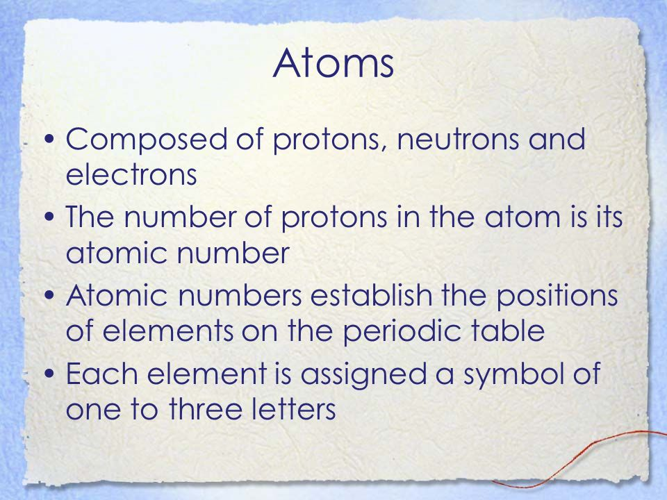 Atoms Composed of protons, neutrons and electrons