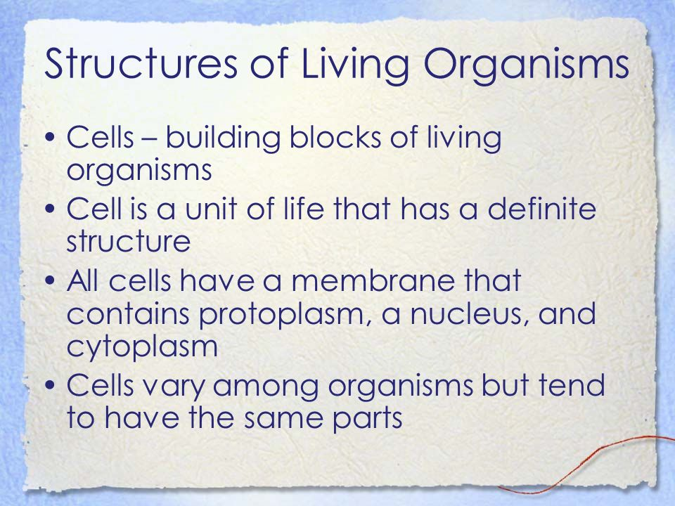 Structures of Living Organisms