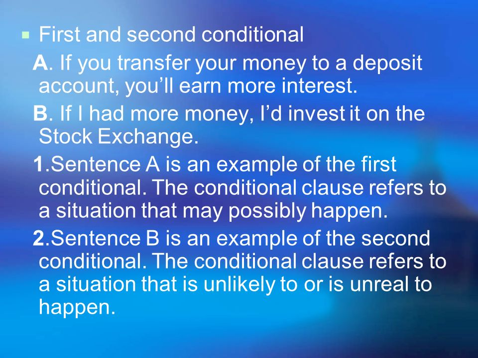 First and second conditional