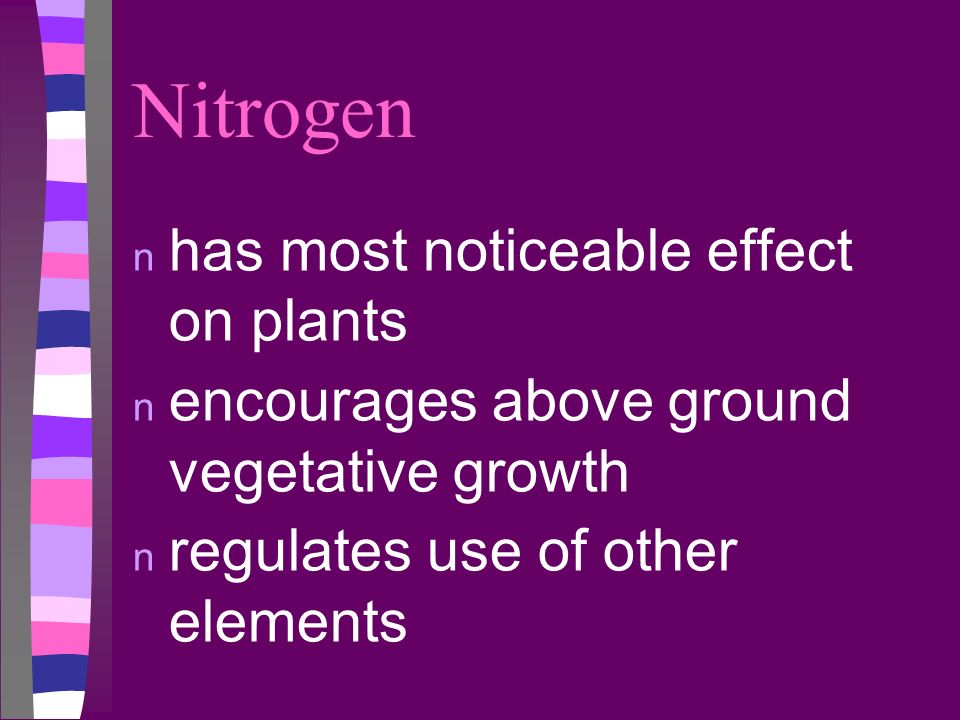 Nitrogen has most noticeable effect on plants