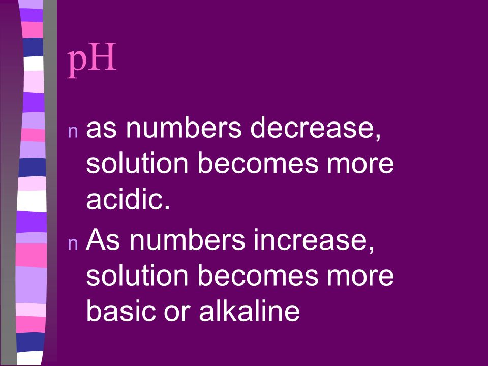 pH as numbers decrease, solution becomes more acidic.