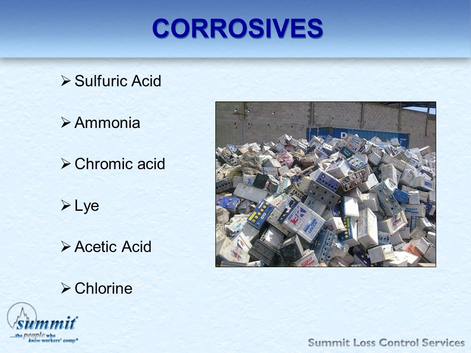 CORROSIVES Sulfuric Acid Ammonia Chromic acid Lye Acetic Acid Chlorine