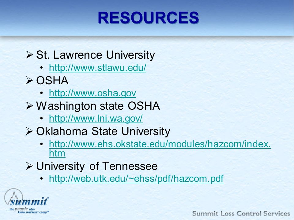 RESOURCES St. Lawrence University OSHA Washington state OSHA