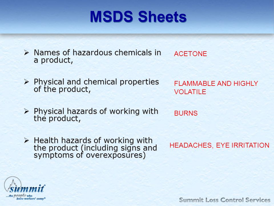 MSDS Sheets Names of hazardous chemicals in a product,