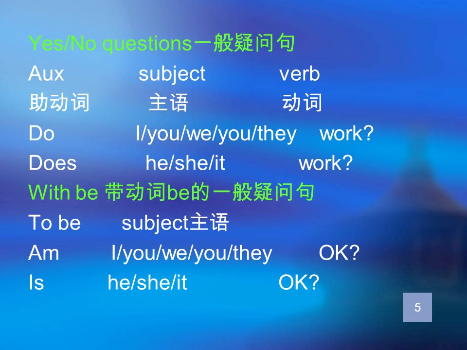 Yes/No questions一般疑问句 Aux subject verb 助动词 主语 动词