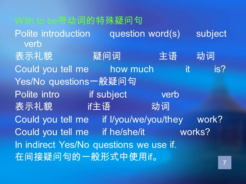 Polite introduction question word(s) subject verb 表示礼貌 疑问词 主语 动词