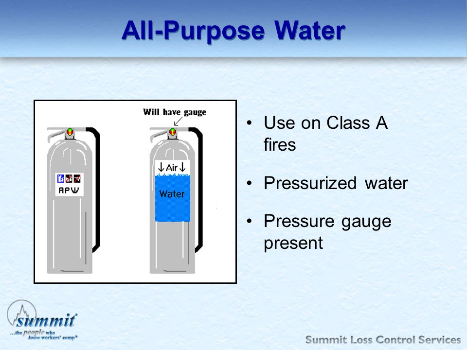 All-Purpose Water Use on Class A fires Pressurized water