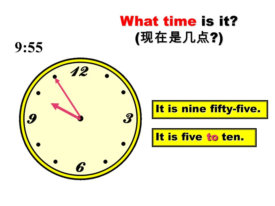 9:55 What time is it (现在是几点 ) It is nine fifty-five.