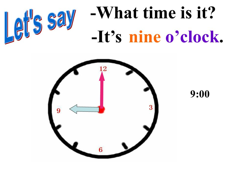 -What time is it Let s say -It's nine o'clock. 9:00
