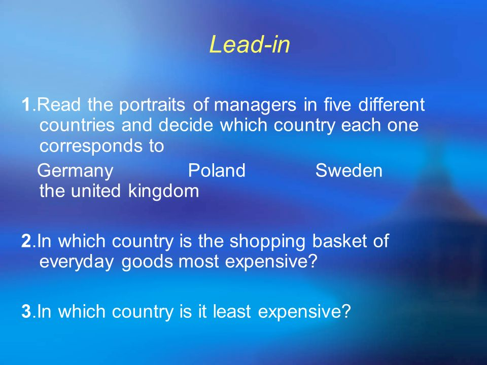 Lead-in 1.Read the portraits of managers in five different countries and decide which country each one corresponds to.