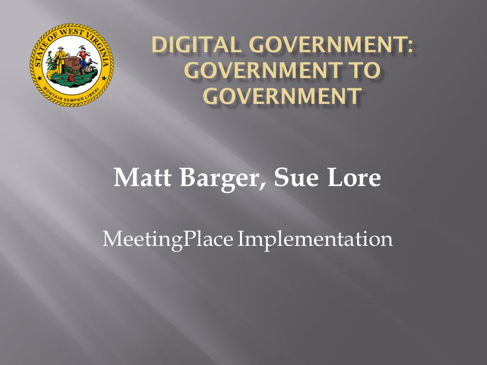 DIGITAL GOVERNMENT: GOVERNMENT TO GOVERNMENT