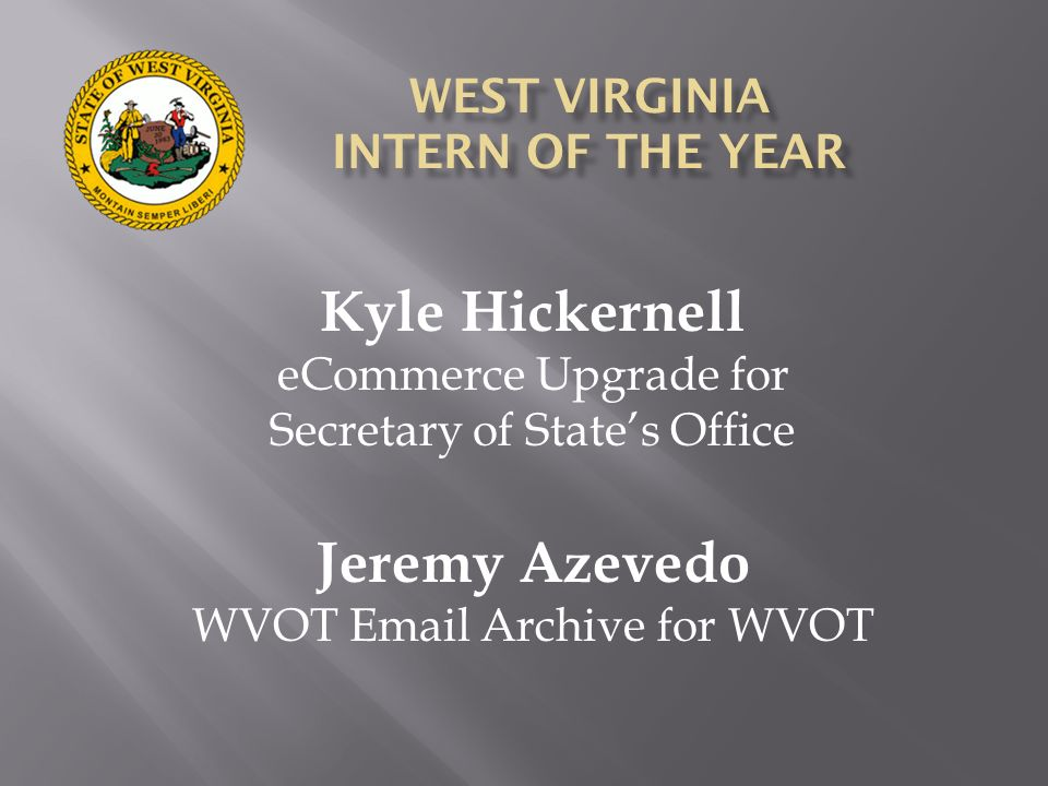 WEST VIRGINIA INTERN OF THE YEAR