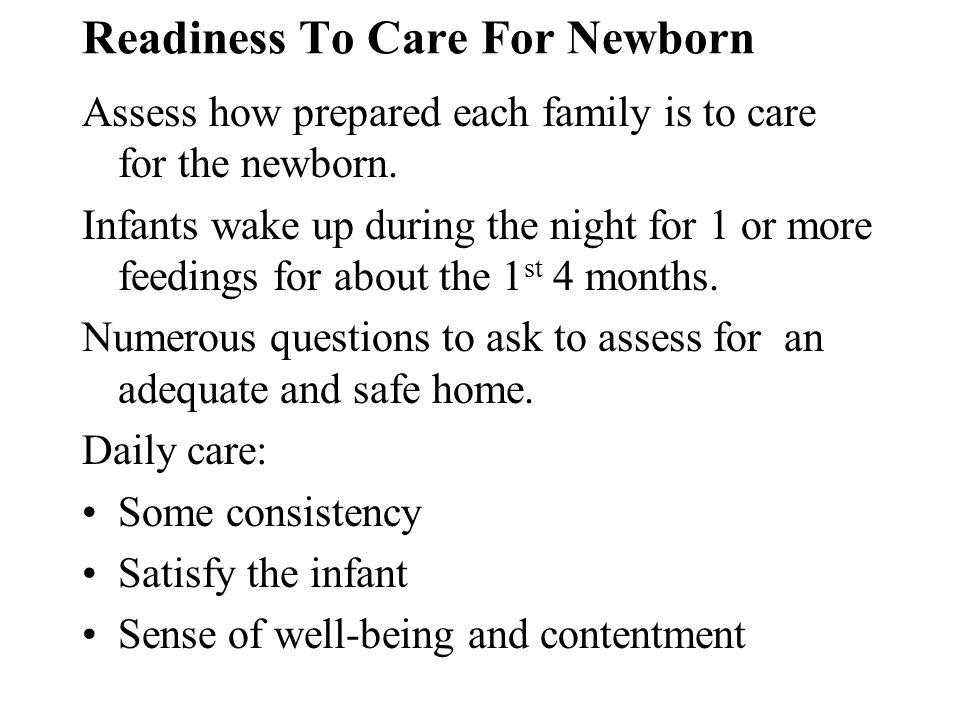 Readiness To Care For Newborn