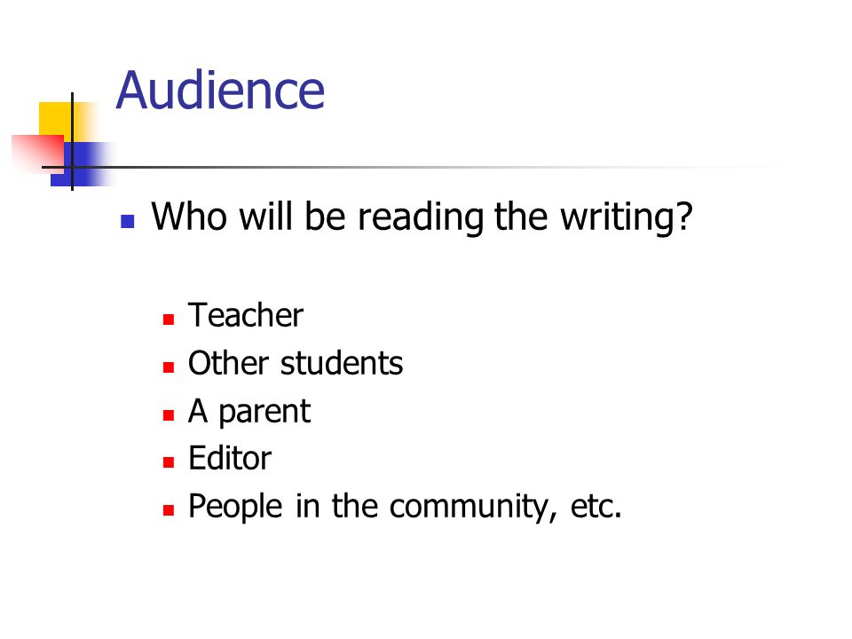 Audience Who will be reading the writing Teacher Other students