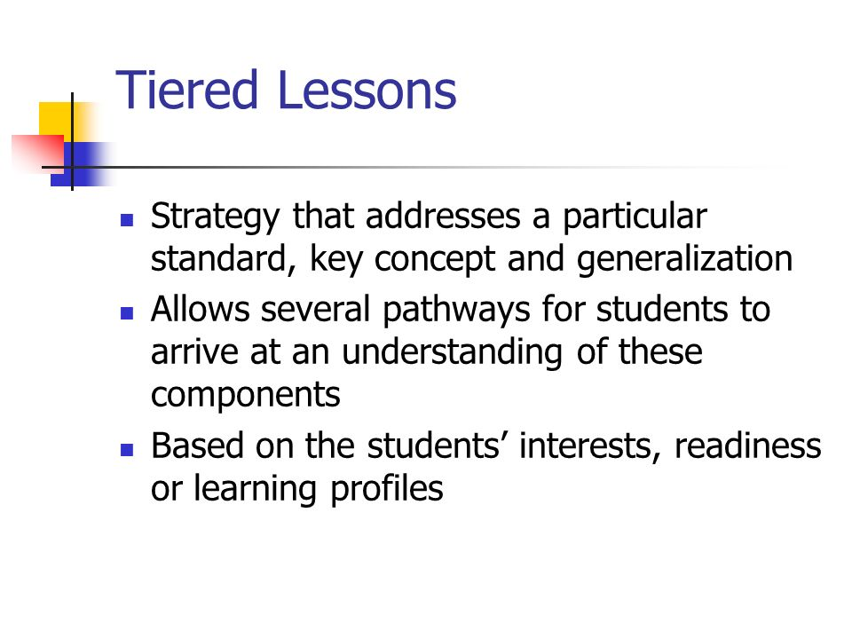 Tiered Lessons Strategy that addresses a particular standard, key concept and generalization.