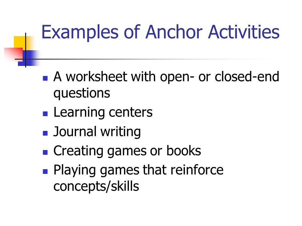 Examples of Anchor Activities