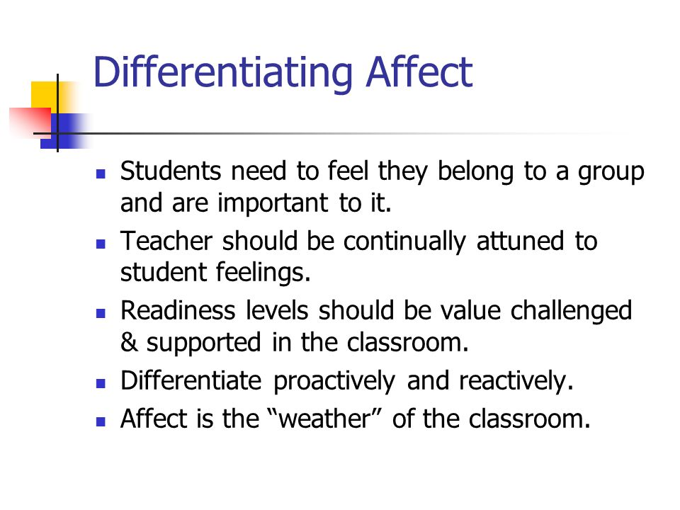 Differentiating Affect