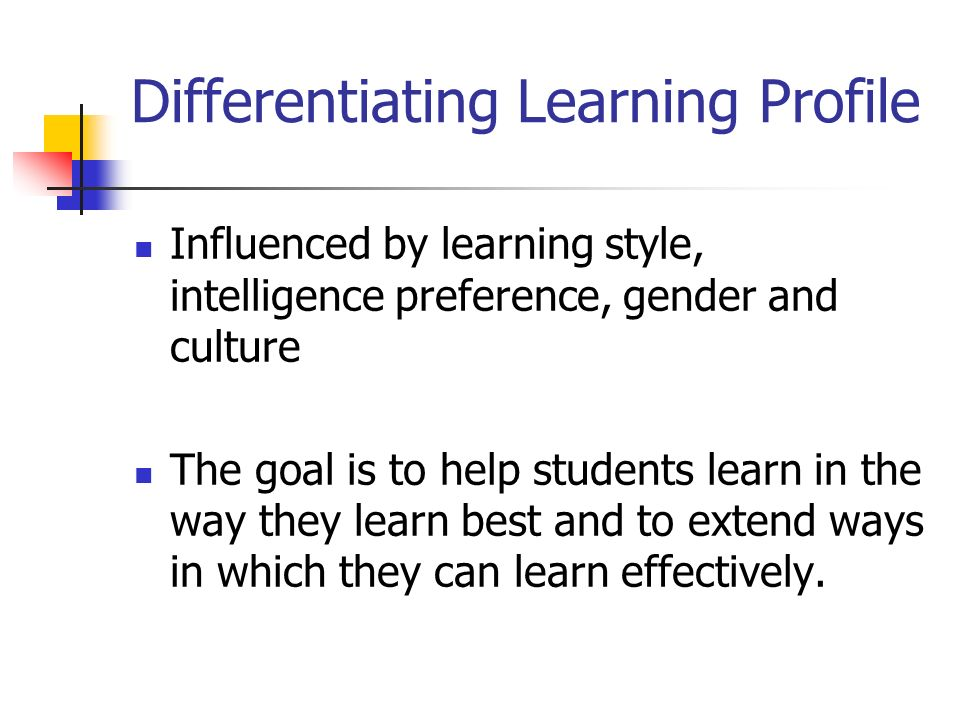 Differentiating Learning Profile