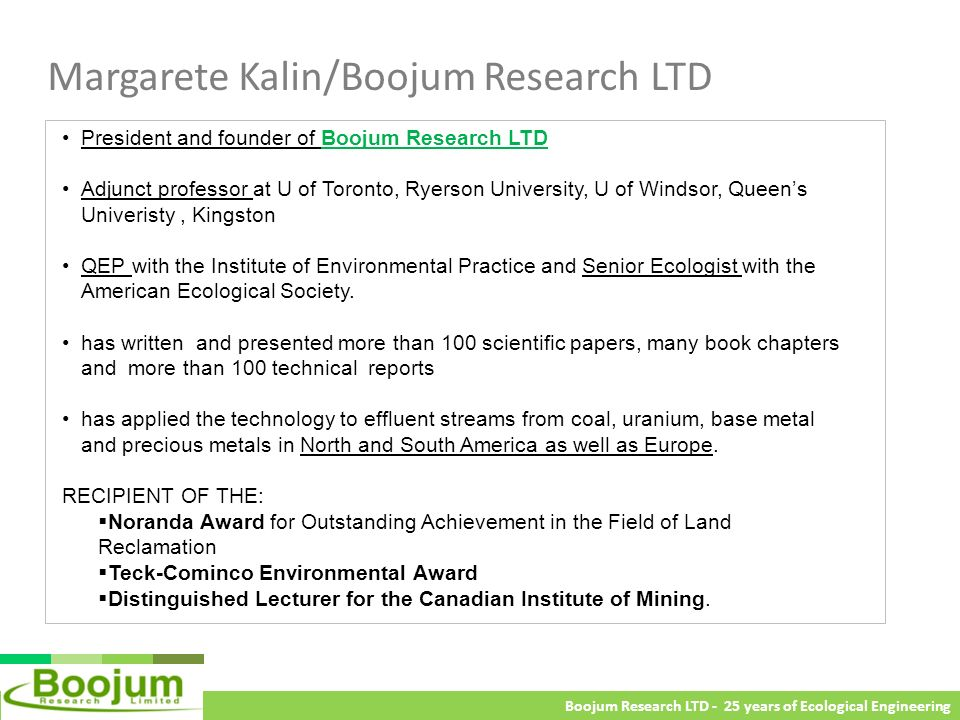 Margarete Kalin/Boojum Research LTD