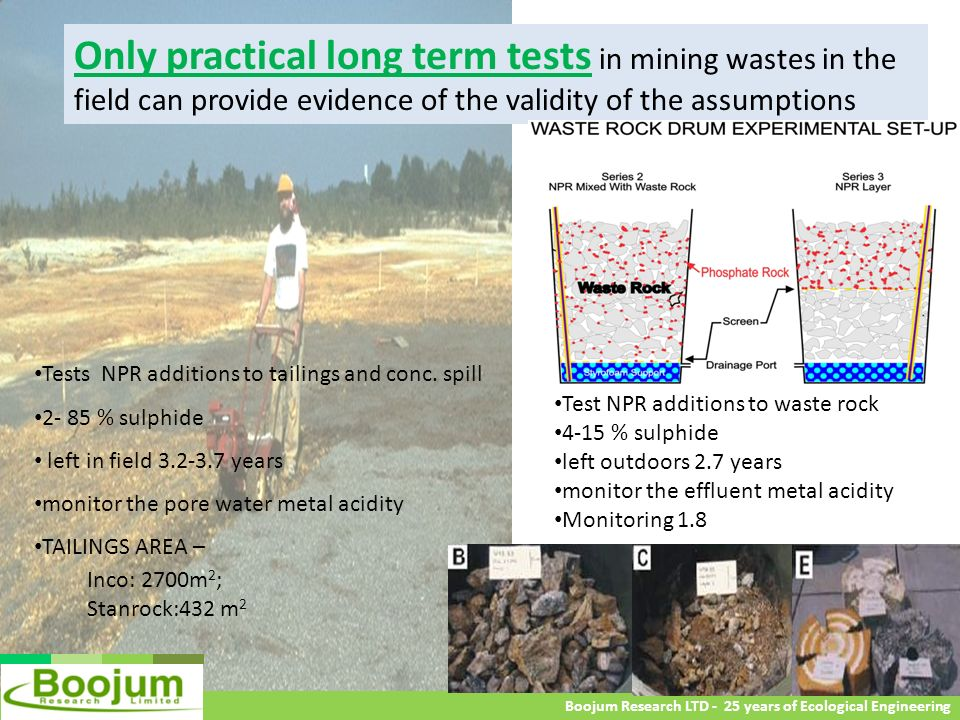 Only practical long term tests in mining wastes in the field can provide evidence of the validity of the assumptions
