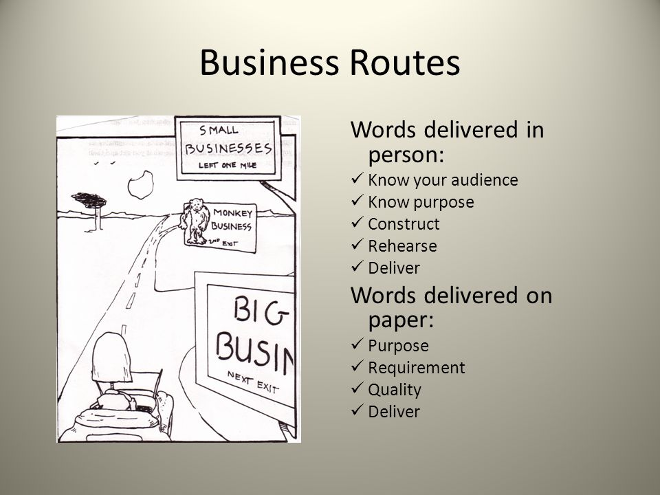 Business Routes Words delivered in person: Words delivered on paper: