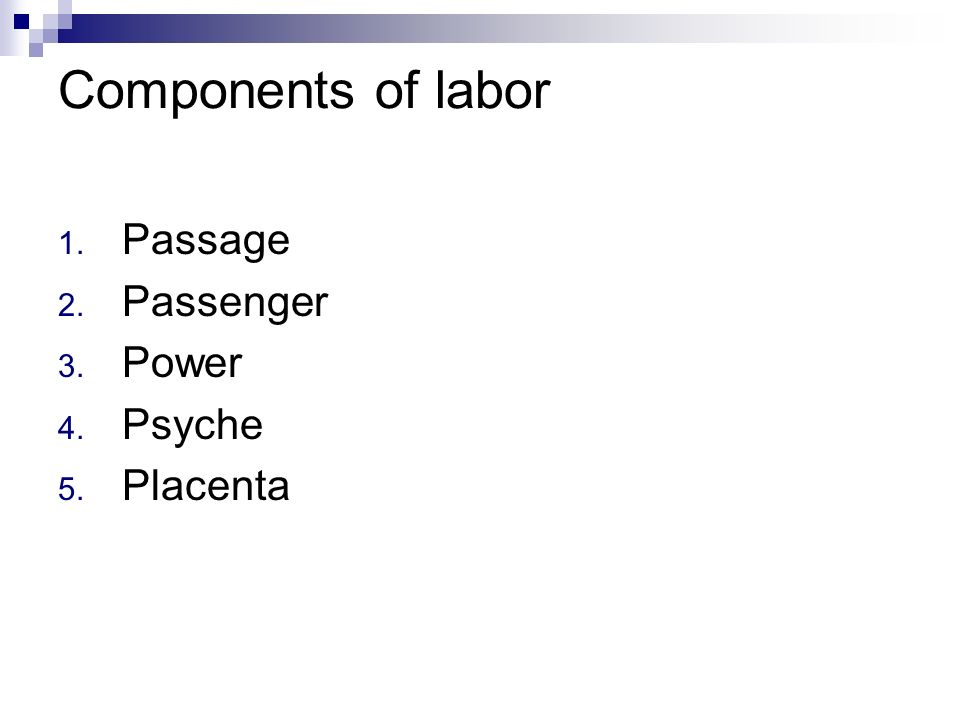 Components of labor Passage Passenger Power Psyche Placenta