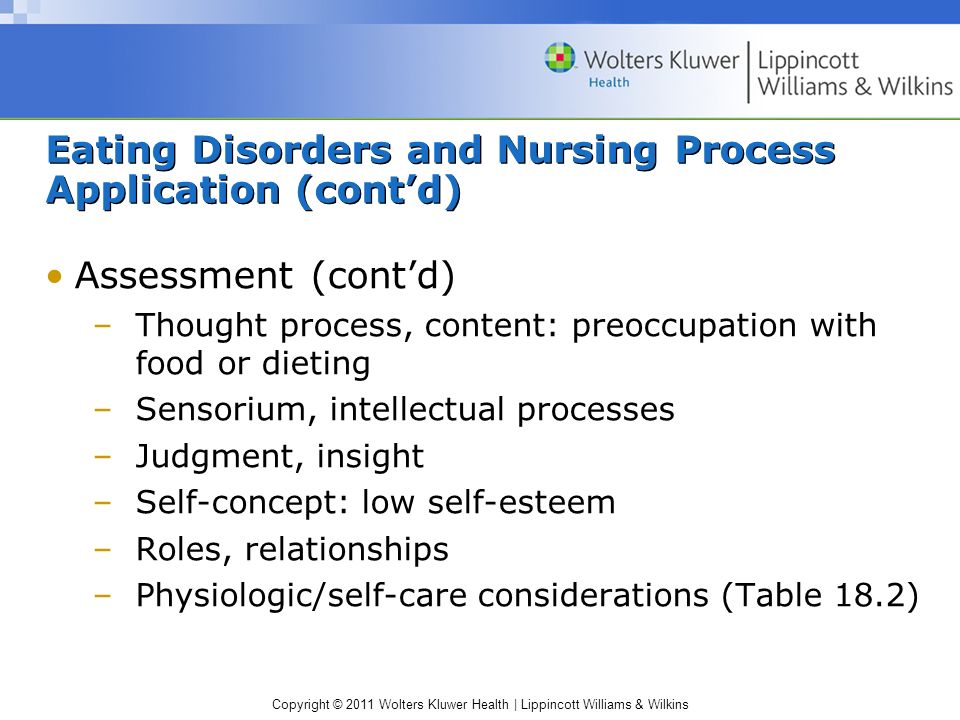 Eating Disorders and Nursing Process Application (cont'd)