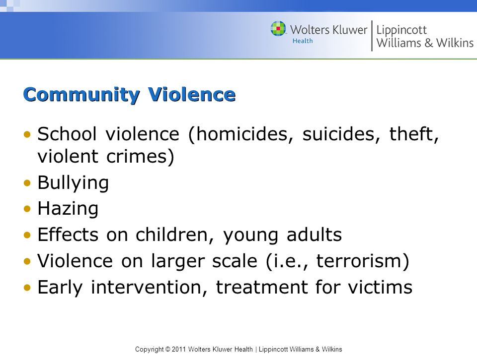 Community Violence School violence (homicides, suicides, theft, violent crimes) Bullying. Hazing.