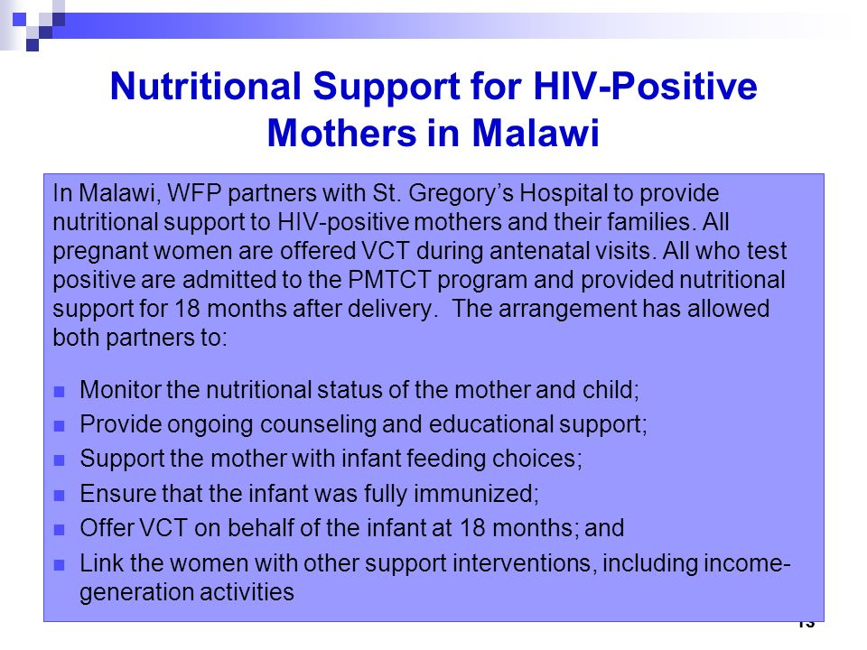 Nutritional Support for HIV-Positive Mothers in Malawi