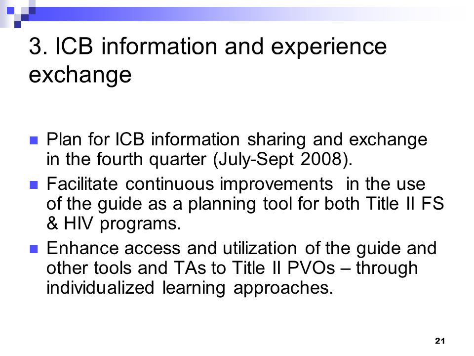 3. ICB information and experience exchange