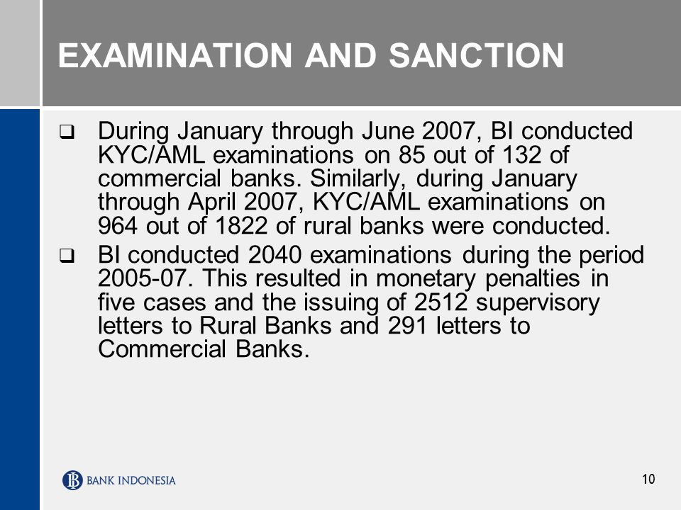 EXAMINATION AND SANCTION