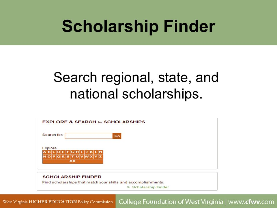 Search regional, state, and national scholarships.