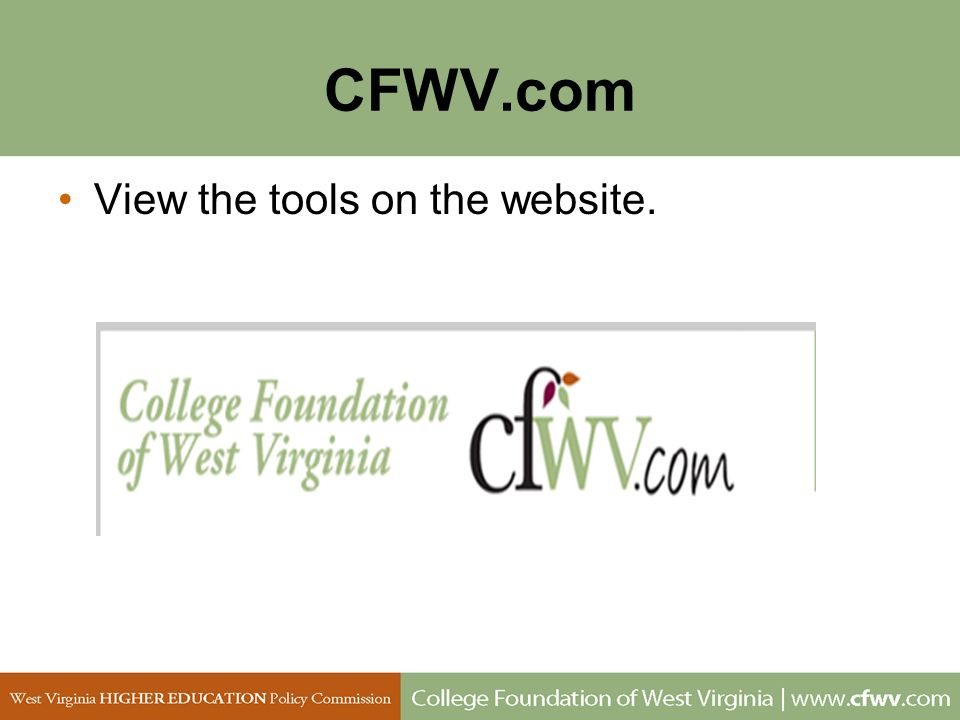 CFWV.com View the tools on the website.