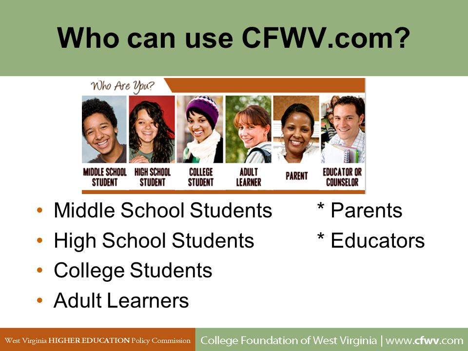 Who can use CFWV.com Middle School Students * Parents