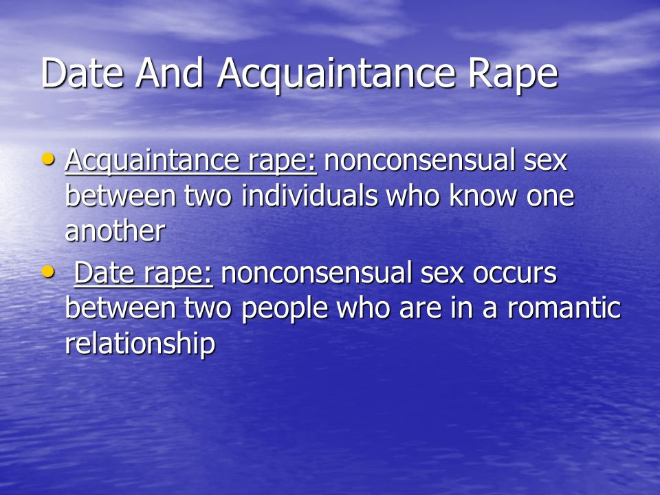 Date And Acquaintance Rape