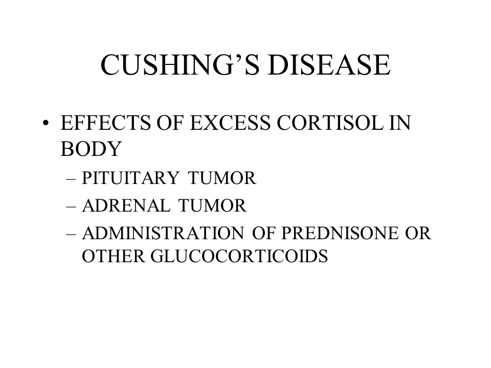 CUSHING'S DISEASE EFFECTS OF EXCESS CORTISOL IN BODY PITUITARY TUMOR