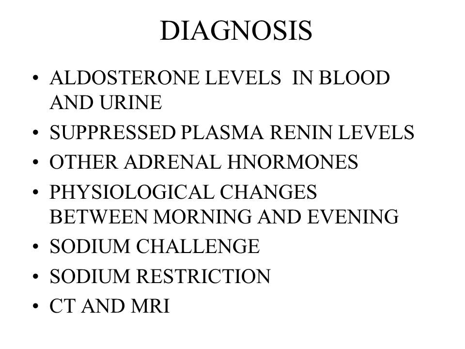 DIAGNOSIS ALDOSTERONE LEVELS IN BLOOD AND URINE