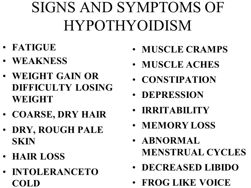 SIGNS AND SYMPTOMS OF HYPOTHYOIDISM