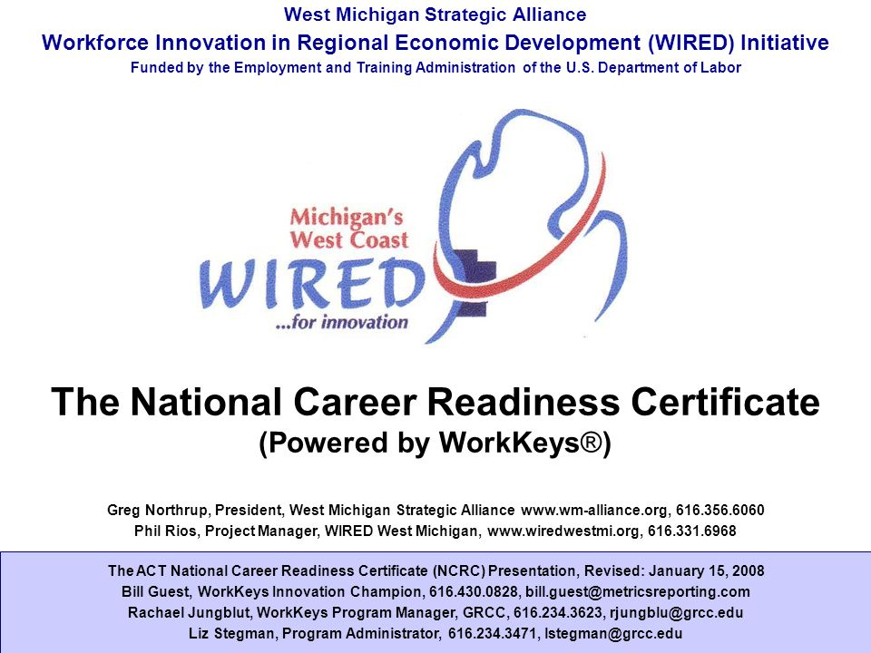 The National Career Readiness Certificate