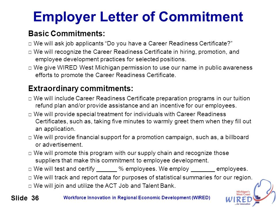 Employer Letter of Commitment
