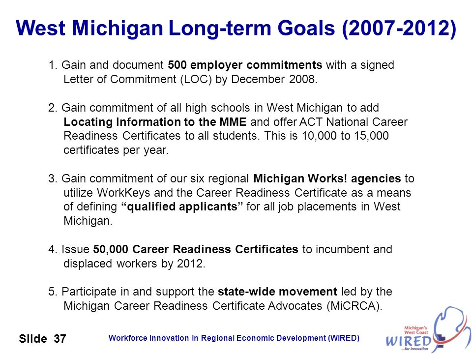 West Michigan Long-term Goals ( )