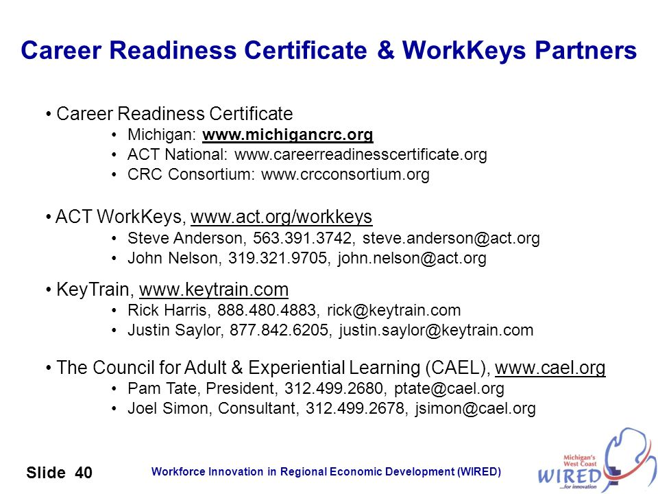 Career Readiness Certificate & WorkKeys Partners
