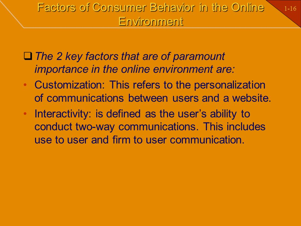 Factors of Consumer Behavior in the Online Environment