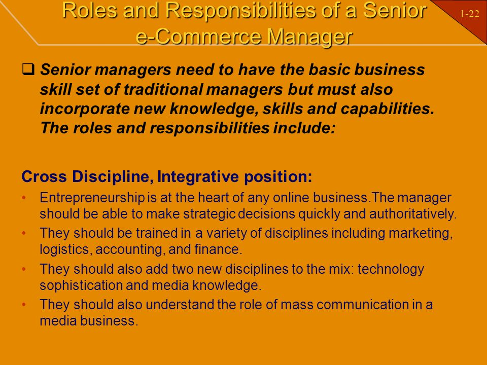 Roles and Responsibilities of a Senior e-Commerce Manager