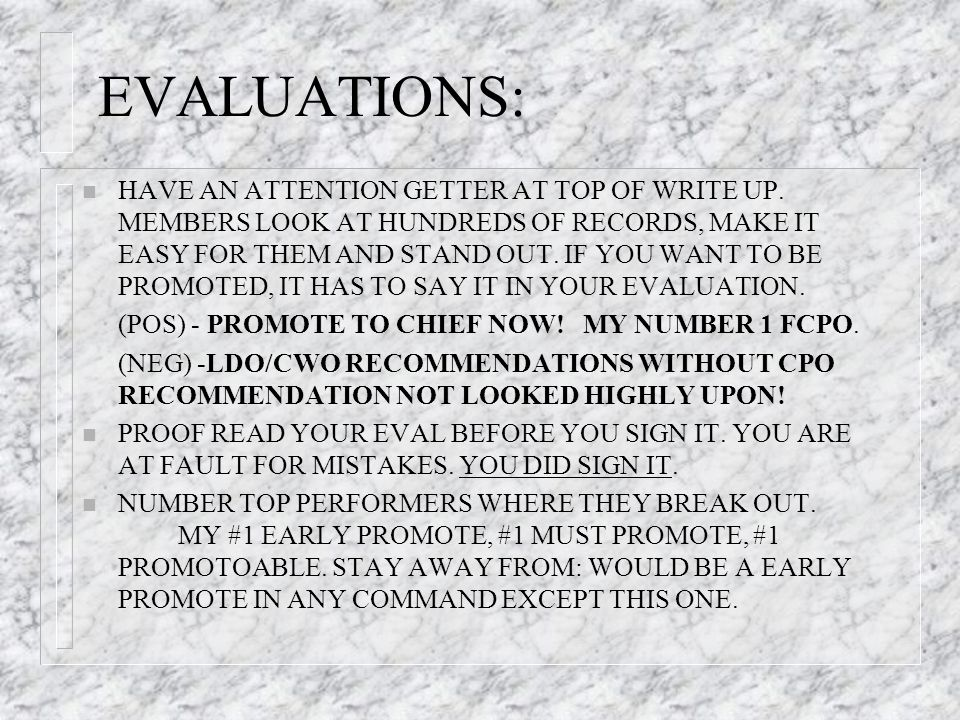 EVALUATIONS: